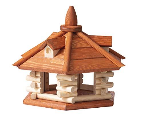 MyDeer Vogelhaus XXL 50x35 cm - Vogelfutterhaus aus Holz - Vogelvilla - Wetterfest - Für Balkon oder Fenster - In der EU hergestellt (Bullfinch Light)