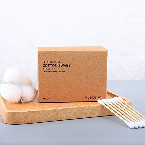 Lulalula Lot de 600 cotons-tiges en bambou biodégradables pour le maquillage, les soins des bébés et des animaux domestiques, nettoyage des yeux