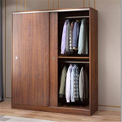 COLiJOL Garderob hem sovrum skjutdörr lägenhet skåp skjutdörr stor garderob lämplig för förvaring av kläder, brun, 200 x 50 x 120 cm