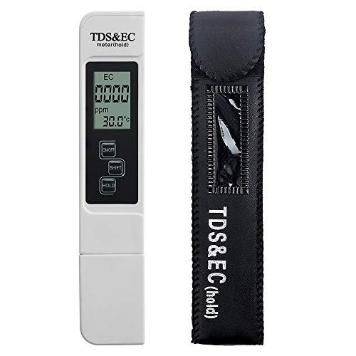MOLO Best TDS Meter,Professional Digital Water Quality Tester,EC and Temperature Meter,0-9990ppm,0-9990us/cm,+/-2% High Accuracy for Drinking Water,Gardening,Aquariums,Pools and Spas(TDS-EC)