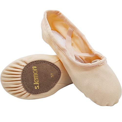 s.lemon Doppelschicht Leinwand Ballettschuhe Balletschläppchen Tanzschuhe für Mädchen Kinder Erwachsene Rosa (28 EU)