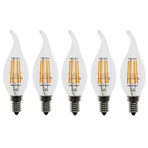 Lampadina Filamento LED Candela fiamma E14, 6W (60W Sostituzione Incandescente), Bianco caldo (2700K), 600 lm, Angolazione fascio luce 360°, dimmabile, 5 pezzi