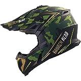 Broken Head Squadron Rebelution - Motorrad-Helm Für MX, Motocross, Sumo und Quad - Camouflage Grün-Gold - Größe S (55-56 cm)
