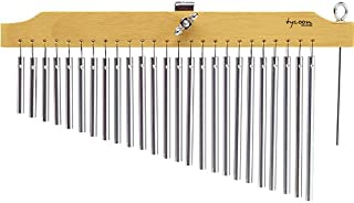 Tycoon Percussion 25 Chrome Chimes With Natural Finish Wood Bar