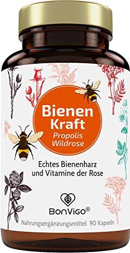 BonVigo Bienen Kraft - Propolis Kapseln hochdosiert - Plus Vitamine der Rose mit 50% pflanzlichem Vitamin C aus Hagebutte - Vielseitig gefragt u.a. für Immunsystem, bei Candida, Scheidenpilz, Darm