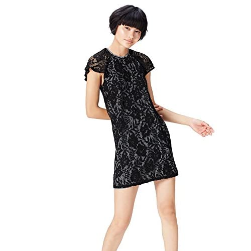 Marchio Amazon - find. Vestito Mini A-Line in Pizzo Donna, Nero (Black/white Check), 40, Label: XS