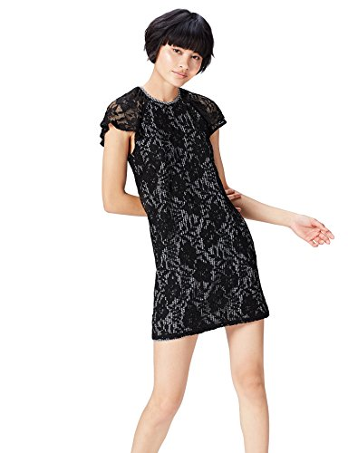 Marca Amazon - find. Vestido Corto Evasé de Encaje Mujer, Negro (Black/white Check), 46, Label: XXL