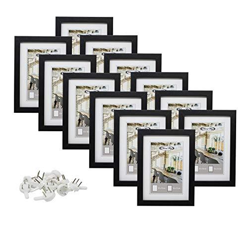 Bilderrahmen-Set 12 Stk. 13x18 cm schwarz Premium MDF-Rahmen, bruchsichere Plexiglas-Scheibe mit Passepartout, Collage