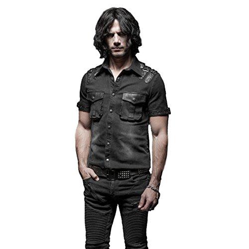 Punk Rave Black Gothic Punk Balanced Pocket Short Sleeves Shirt for Men (Medium)