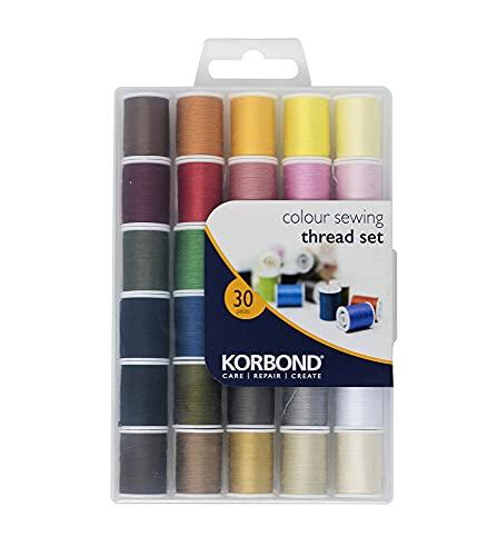 Korbond - Juego completo de hilos, 1350 m, 30 x 45 m, colores – costura a mano y a máquina, reparación, manualidades, multicolor, 30 bobinas