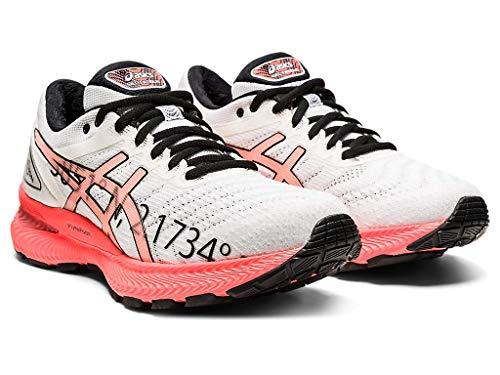 ASICS Gel-Nimbus 22 Zapatillas de correr para mujer, Marfil (Blanco/Coral Flash), 42 EU