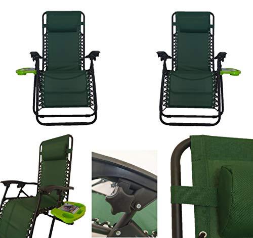 Pincho Sillón Relax Gravedad Cero, Tumbona Plegable Multiposiciones para jardín, terraza, Camping (Verde 2 Unidades)