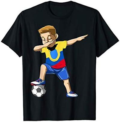 Dabbing Soccer Boy Ecuador Jersey Ecuadorian T Shirt product image
