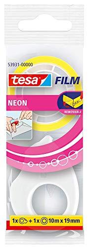 Cinta fluorescente tesafilm® 10mx19m + mini dispensador color amarillo