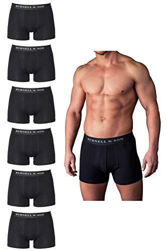 Burnell & Son Boxershorts Herren schwarz weiß grau blau 6er Pack Unterhosen Männer aus atmungsaktiver Baumwolle S-XXXL 6X Schwarz, M