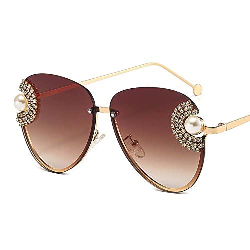 AMFG Gafas De Sol Tachonadas Con Diamante De Gran Marco Con Lente Degradado Personalizado, UV400, Gafas De Fotografía De Calle (Color : A, Size : M)