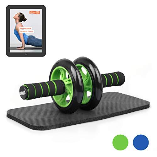 Joyletics® Bauchtrainer »Double Wheel« | Ab Roller inklusive NBR Matte für die Knie | Körpertraining mit Fokus auf die Bauch und Rückenmuskulatur – grün