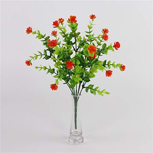 Idiytip 7 Stück Plastikblumen Eukalyptus Künstlich Blumen Kunststoff Unechte Pflanze Kunstblumen Balkon Außen Garten Deko(Orange)