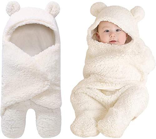 Baby Wickeldecke,Mit Kapuze neugeborene empfangende Decke,Baby Schlafsack weich Pucksack Baby Swaddle Blanket für Säugling Baby Mädchen Junge Baby Pucktuch Neugeborene Kapuze Schlafsack 0-6 Monate
