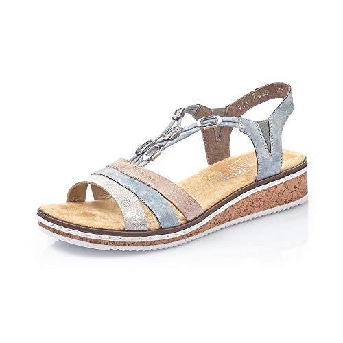 Rieker Femme Sandales V36G4, Dame Sandales compensées,Sandales compensées,Chaussures d'été,Confortable,Plat,Fog-Silver,39 EU / 6 UK