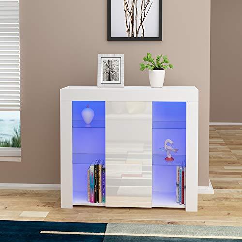 Hochglanz-Anrichtenschrank, Front-Wohnzimmerschrank, Sideboard, RBG LED-Lichter (weiß)