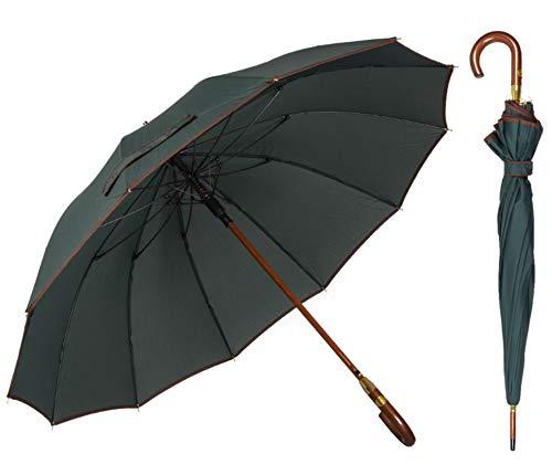 ADRIANO PORCARO® - Automatik Regenschirm - windsicher Stockschirm aus Holz - 12 fache Fiber Verstrebung - groß stabil & windresistent sturmfest - 115cm Ø (Olivgrün)