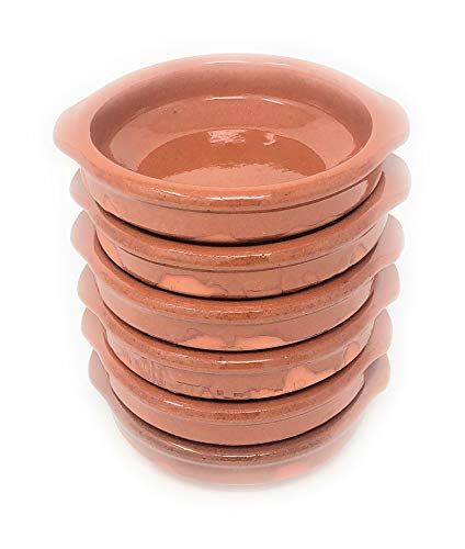 Alfareria Padilla 6er-Set Cazuela Tonschale rustikale Servierschale klein, traditionel, flach, rund, braun 12 cm | 6x12cm