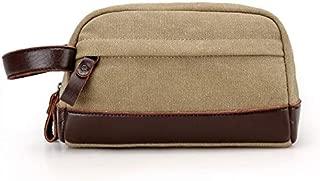 JAUROUXIYUJI Simple and Versatile Small Bag Fashion Wearable Canvas Clutch Bag Male Mobile Phone Bag Boutique Change Small Bag (Color : Khaki)