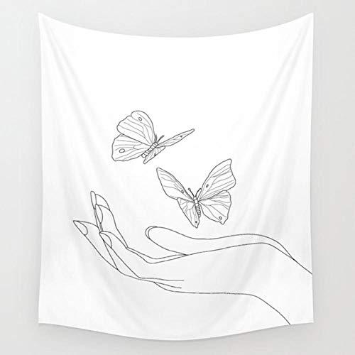 YDH Tapiz de pared con diseño de mariposa, color blanco, decoración de pared, decoración de habitación de niñas, decoración del hogar, 130 x 150 cm