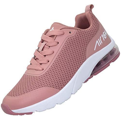 Turnschuhe Frauen Bequem Freizeitschuhe rutschfest Verschleißfest Flach Sportschuhe Männer Elastisch Lauf Schuhe für Drinnen, Sneaker Pink 39