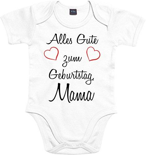 Mister Merchandise Baby Body Alles gute zum Geburtstag, Mama Strampler liebevoll bedruckt Glückwunsch Weiß, 3-6