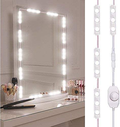 Led Spiegelleuchte, Dimmbar spiegel beleuchtung mit 60 Leds, 10FT Länge Make Up Licht, 6000K Kaltweiß LED Schminkspiegel Kit