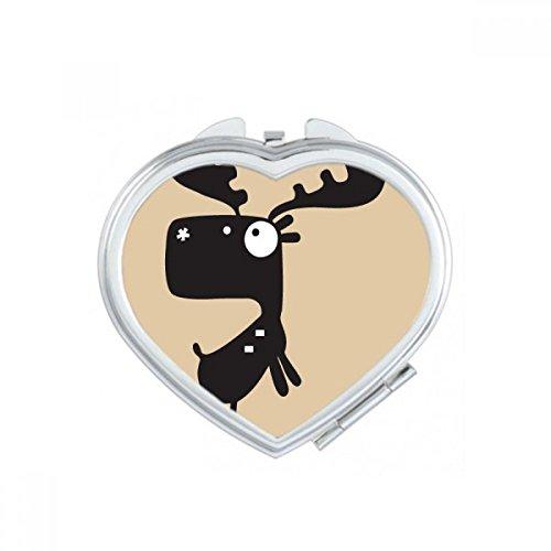 DIYthinker Fille de Deer Coeur d'animal Maquillage Compact Miroir de Poche Portable Mignon Petit Cadeau Miroirs Main Multicolor