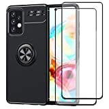 GDTOGRT for Galaxy A52 Case,with 2Pack Tempered Glass Screen Protector, Flexible Shockproof TPU Metal Magnetic Kickstand Slim Non-Slip Hybrid Protective Case Cover for Samsung Galaxy A52 5G -Black
