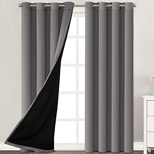 """H.VERSAILTEX Thermal Insulated 100% Blackout Extra Long 108 Inches Curtains Noise Reducing Performance Grommet Drapes with Black Liner, Full Light Blocking Drapery Panels (Grey, 1 Pair, 52"""" x 108"""")"""