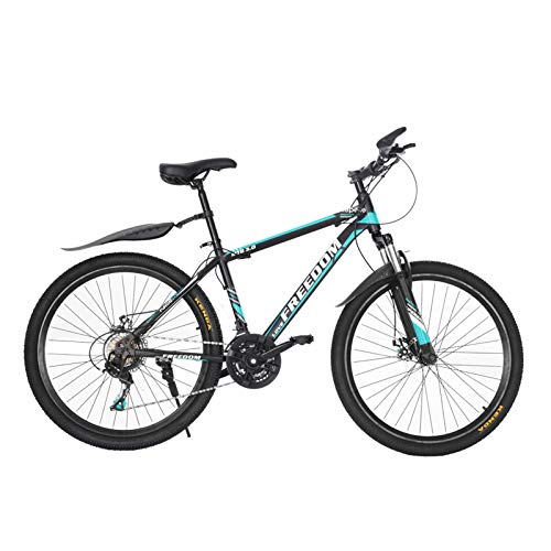 Tengma Junior Aluminum Full Mountain Bike, Stone Mountain 26 Inch 21-Speed ​​Bicycle, Full Suspension Road Bikes with Disc Brakes, Bicycle Full Suspension MTB Bikes for Men/Women (Blue)