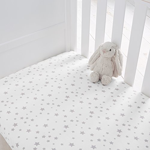 Silentnight Safe Nights Cot Bed Fitted Sheets, Grey Star, Pack of 2, 478359GE
