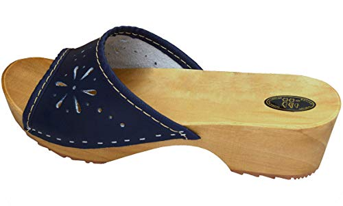 BeComfy Damen Clogs Holzschuhe Leder Holz Pantoletten mit Absatz Sandalen Bunte Farben Modell VK10 (36, Marineblau)