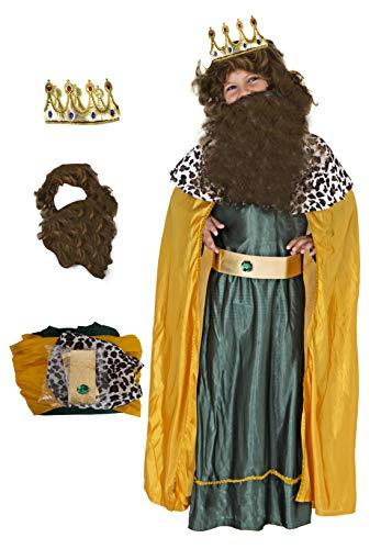 Gojoy shop- Disfraz y Corona de Rey Mago Baltasar para Niños Navidad Carnaval (Contiene Corona, Conjunto Peluca y Barba, Túnica, Capa y Cinturón, 4 Tallas Diferentes) (Baltasar, 3-4 años)