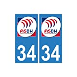 34 ASBH Bézier rugby autocollant plaque sticker logo2 - Angles : droits