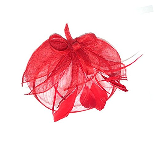 Red Fascinator on Headband/ Clip-in for Weddings, Races and Occasions-4918