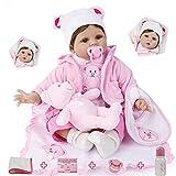 ZIYIUI 22 Pollici Bambole Reborn Femmine Silicone Morbido Realistico 55 cm Reborn Toddler Bambola Occhi aperti Originali Giocattoli per Ragazzi e Ragazze Regali di Natale Reborn