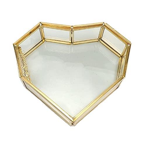 Tiantianchaye Joyero de cristal dorado pequeño, hecho a mano en forma de corazón para boda, caja decorativa de almacenamiento para escritorio, aparador