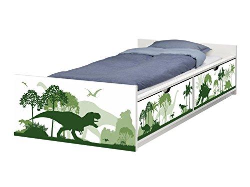 STIKKIPIX Dinosaurier Möbelfolie | passend zum IKEA Kinderbett FLAXA | passgenaue Dino Klebe-Folie für Schubkästen und Stirnseite | FLX05 | Möbel Nicht Inklusive