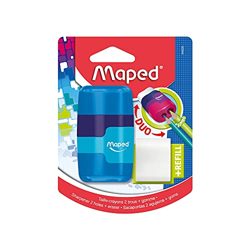 Maped Connect Coloured Duo Eraser and Pencil Sharpener (Assorted Colours), 49220