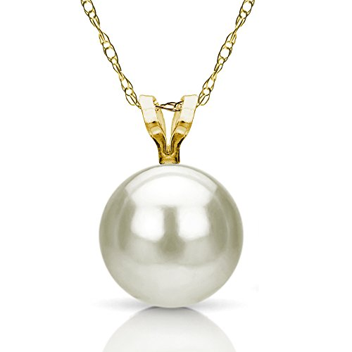 14k Yellow Gold 8-8.5mm White Round Freshwater Cultured Pearl Rolo Chain Pendant Necklace, 18