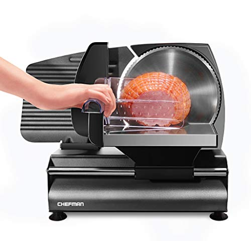 Chefman Electric Deli & Food Slicer Die-Cast Cuts Meat, Cheese, Bread, Fruit & Vegetables, Adjustable Slice Thickness, Stainless Steel Blade, Safe Non-Slip Feet, For Home Use, Easy To Clean, Black
