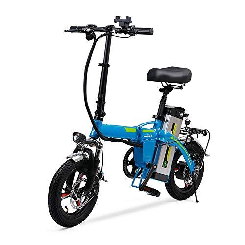 """E-Bike Elektro Faltrad,400W, 48V, 25km/h, extrem kompakt 14\"""" Klapprad Scheibenbremsen,Praktisches Pedelec für Damen und Herren,Blau"""