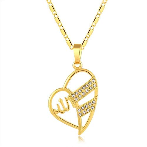 LKLFC Necklace Women Necklace Men Necklace Women Muslim Allah Pendant Necklace for Religious Islamic Jewelry Gift Gold Color Pendant Necklace Girls Boys Gift