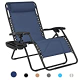 Patio Watcher Oversized Zero Gravity Chair Folding Recliner Chair with Cup Holder Accessory Tray and Removable Pillow for Outdoor Yard Porch Navy 1 Chair